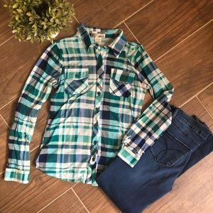 Green plaid button shirt
